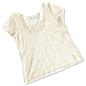 Maurices Cream Lace Top - Cap Sleeves & Flowers